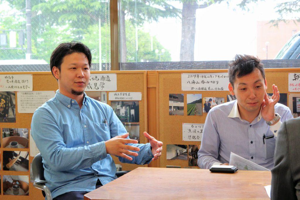三上酒店・三上雄一郎(左) 鮎正宗酒造・飯吉元樹氏(右)
